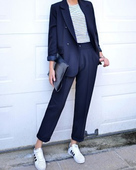 Blue Blazer with Straight Trousers