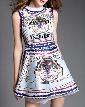 Brocade Skater Mini Dress