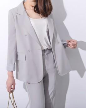 Grey Blazer with Straight Trousers